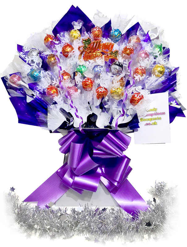 Christmas Lindt Chocolate Bouquet, Silver box, Purple trim