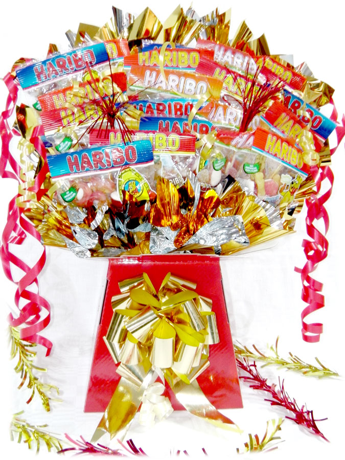 Haribo Mix Bouquet, Red box, Gold trim