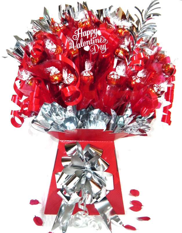 Romantic Scrummy Lindt Valentines Chocolate Bouquet, Silver trim