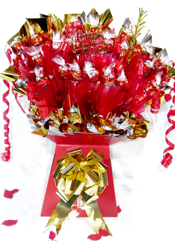 Romantic Scrummy Lindt Valentines Chocolate Bouquet, Gold trim